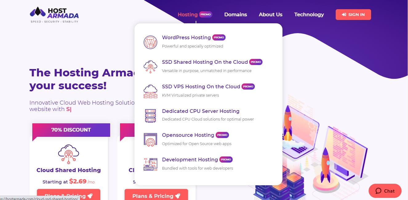 HostArmada hosting services