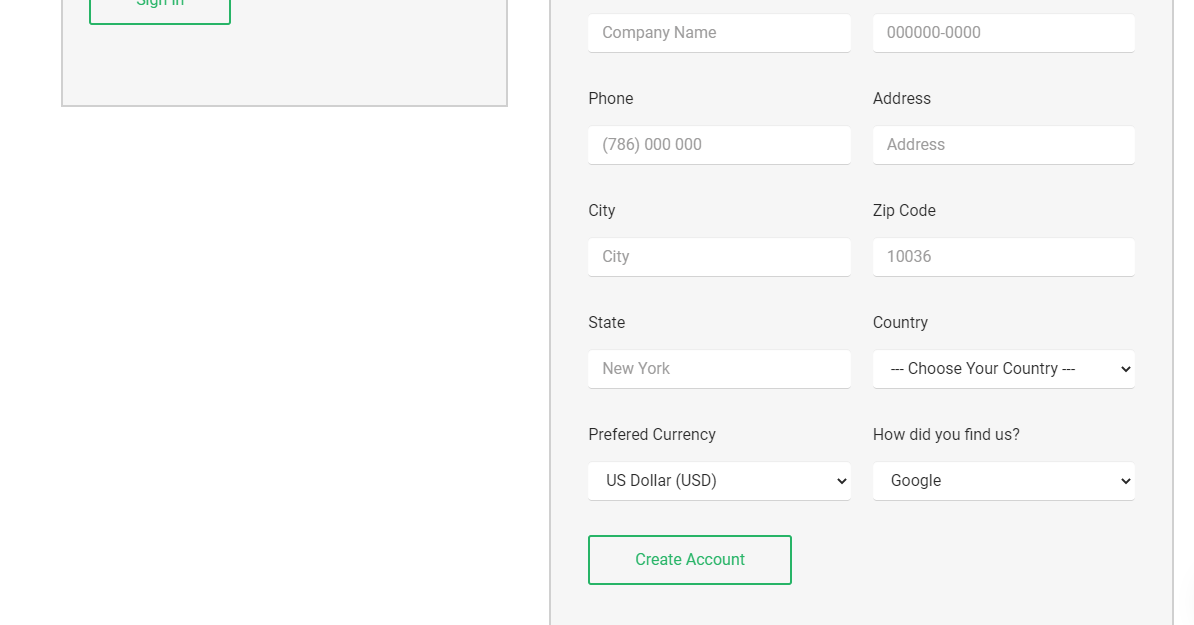 StableHost create new account