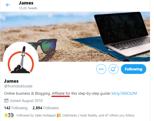 Twitter bio affiliate link disclosure