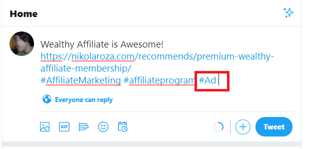 twitter affiliate link promotion with #ad hashtag