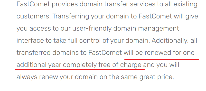 FastComet free domain name renewal for one year