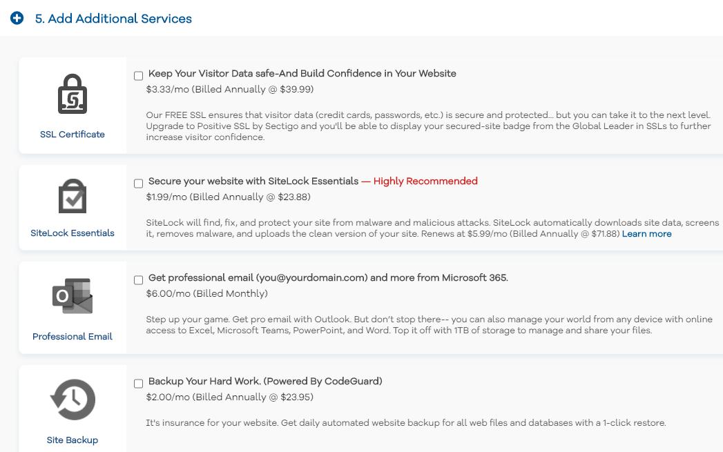 HostGator additional services