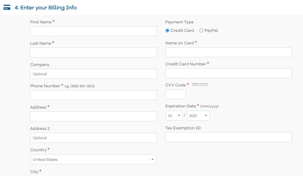 HostGator enter in billing info