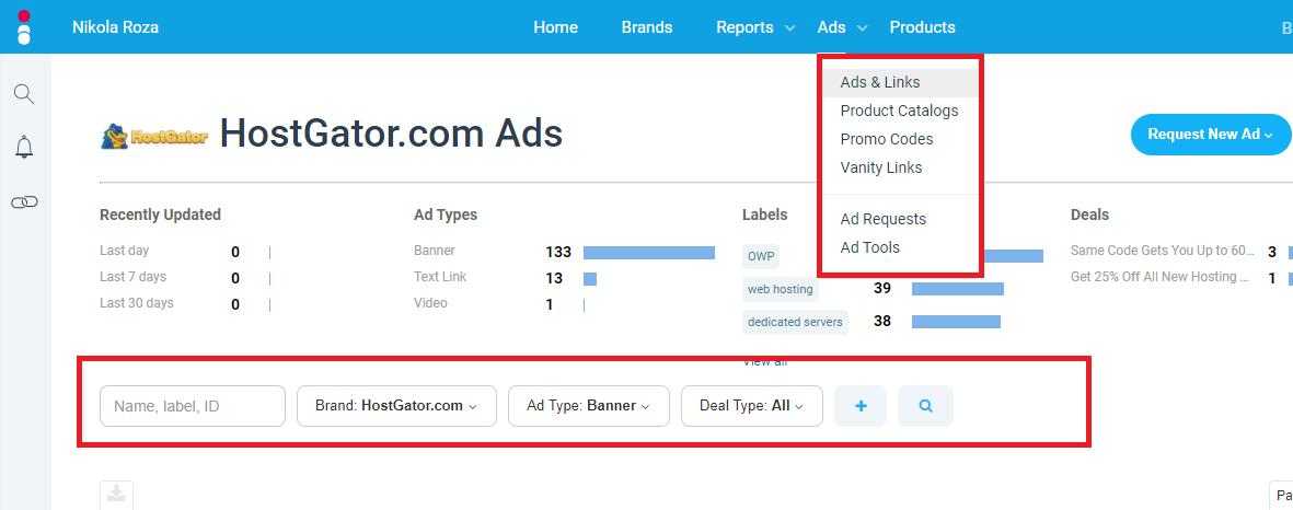 banner and links for promoting HostGator are aplenty