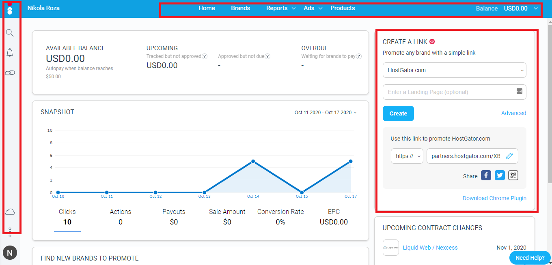Impact affiliate dashboard