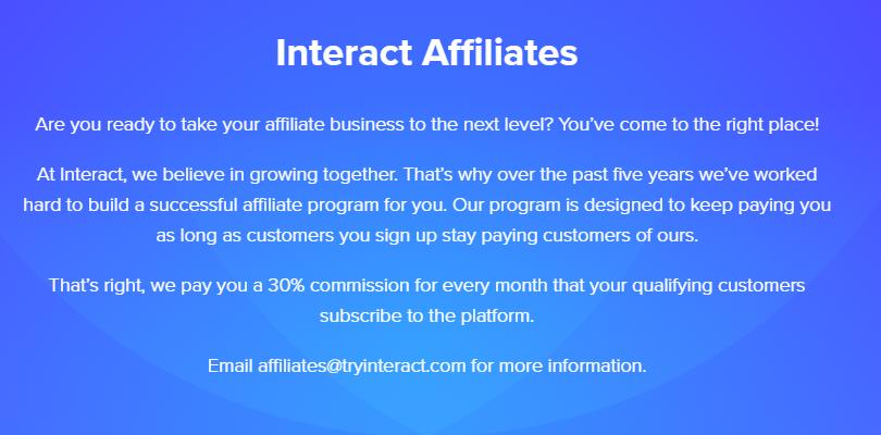 Interact affiliate program details