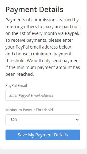 Jaaxy payment method
