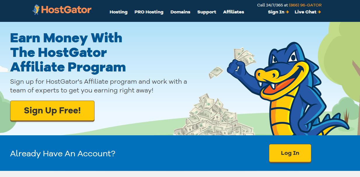 Sign up to HostGator affiliate program