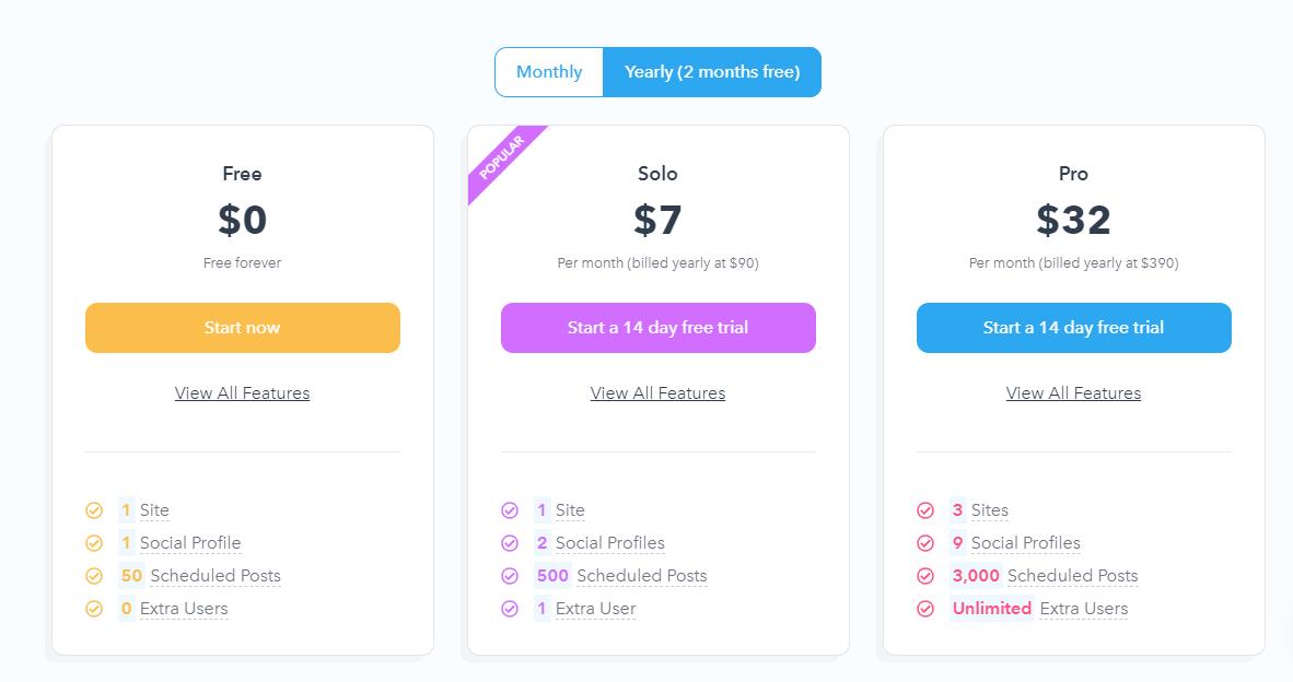 Missinglettr pricing plans