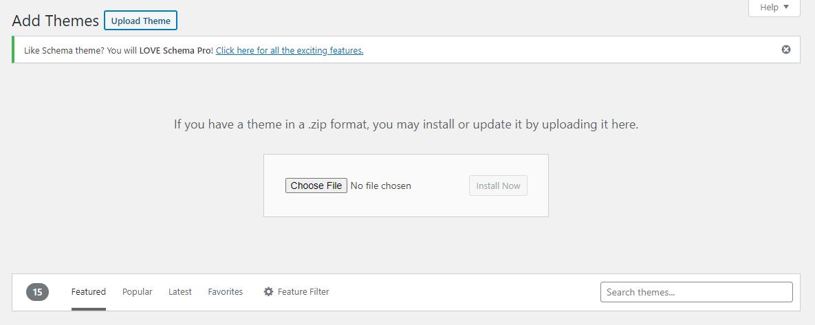 Upload theme in WordPress
