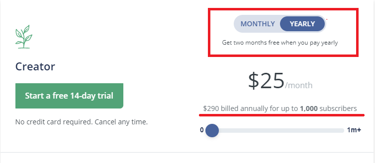 ConvertKit pricing- yearly vs monthly