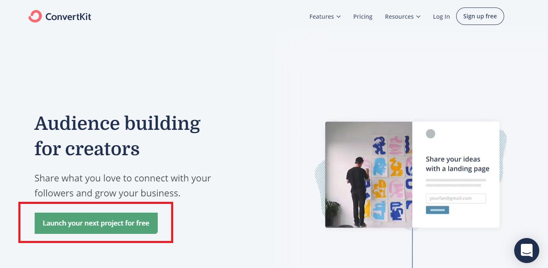ConvertKit homepage- start here