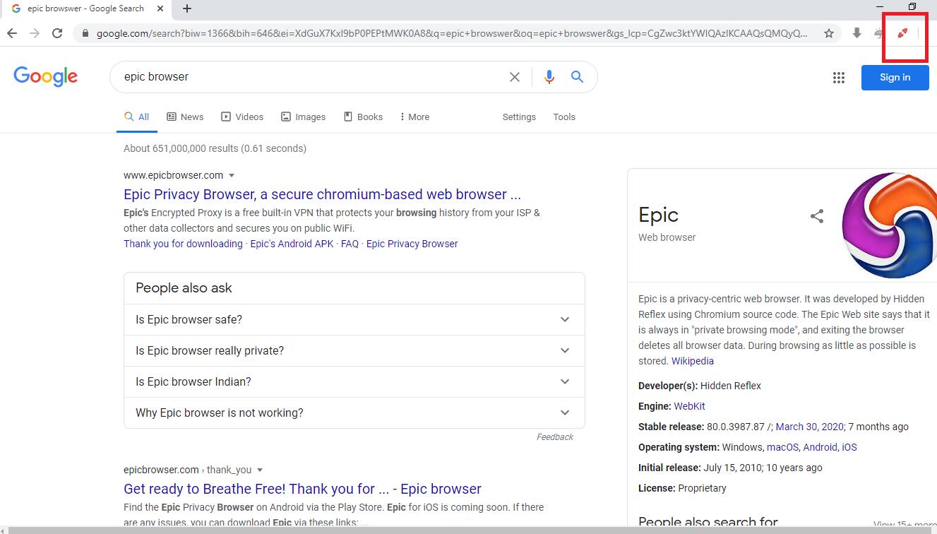 Epic browser offer a free VPN