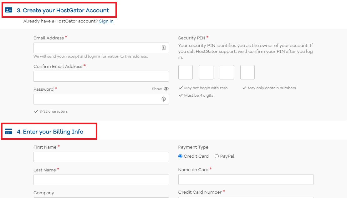 HostGator enter billing info and create account