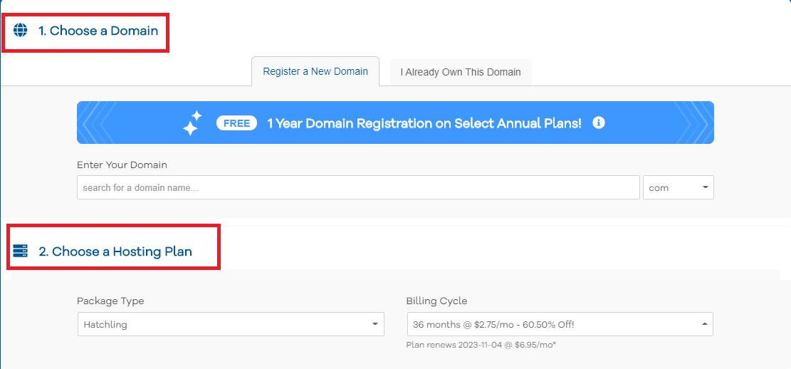 Pick HostGator plan hosting term