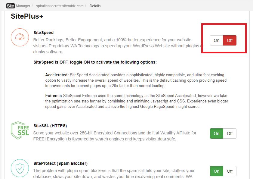 SiteSpeed enable it