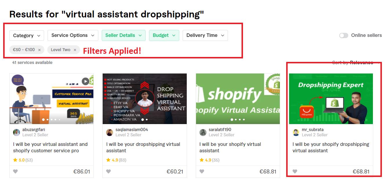 Fiverr dropshipping virtual assistant