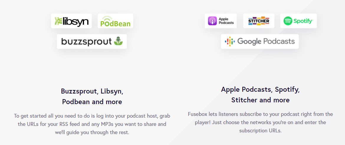 Smart Podcast Player available integrations