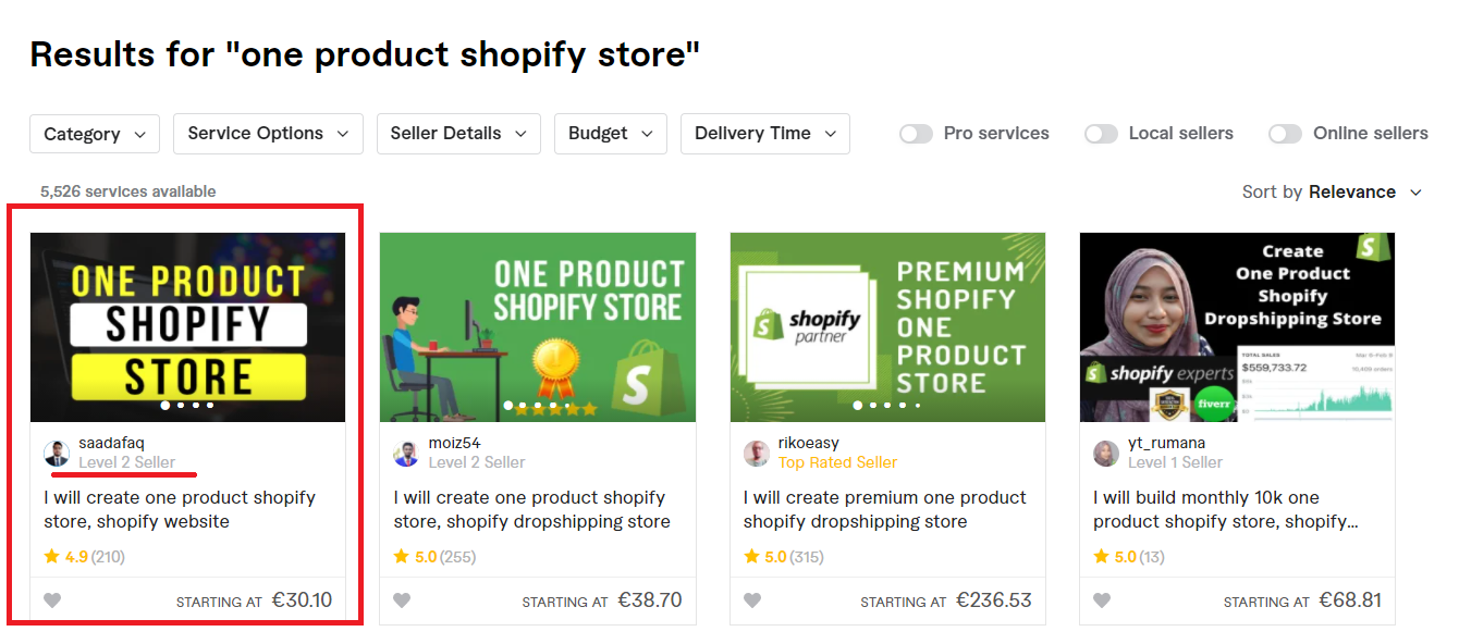one product Shopify store Fiverr.