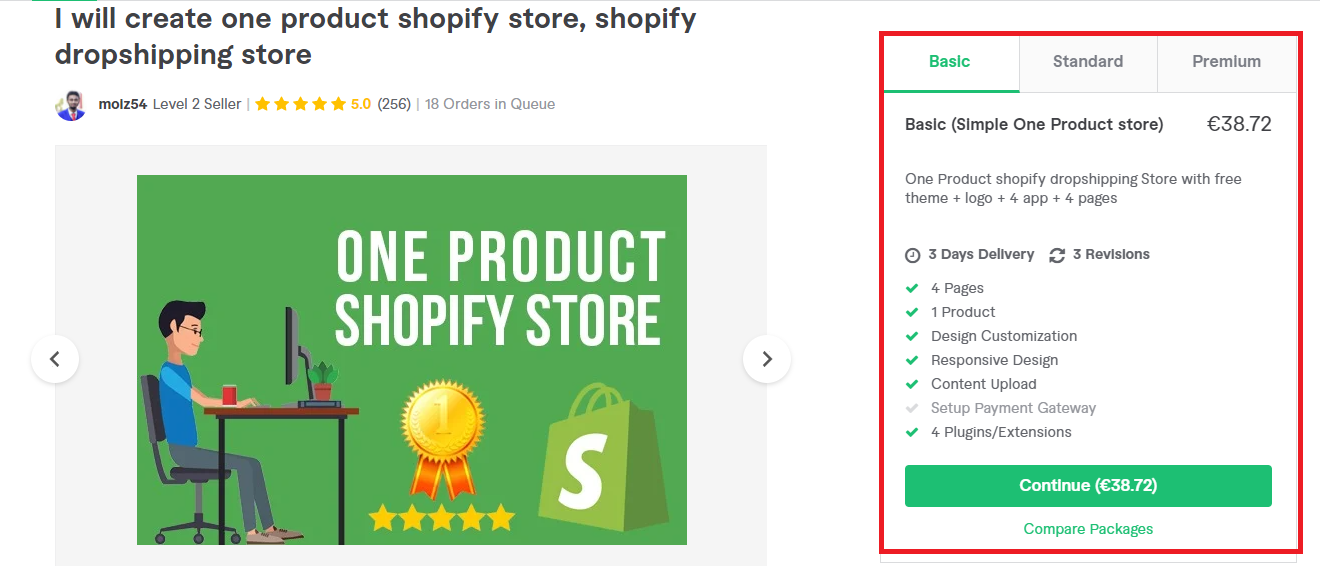 One product store creation