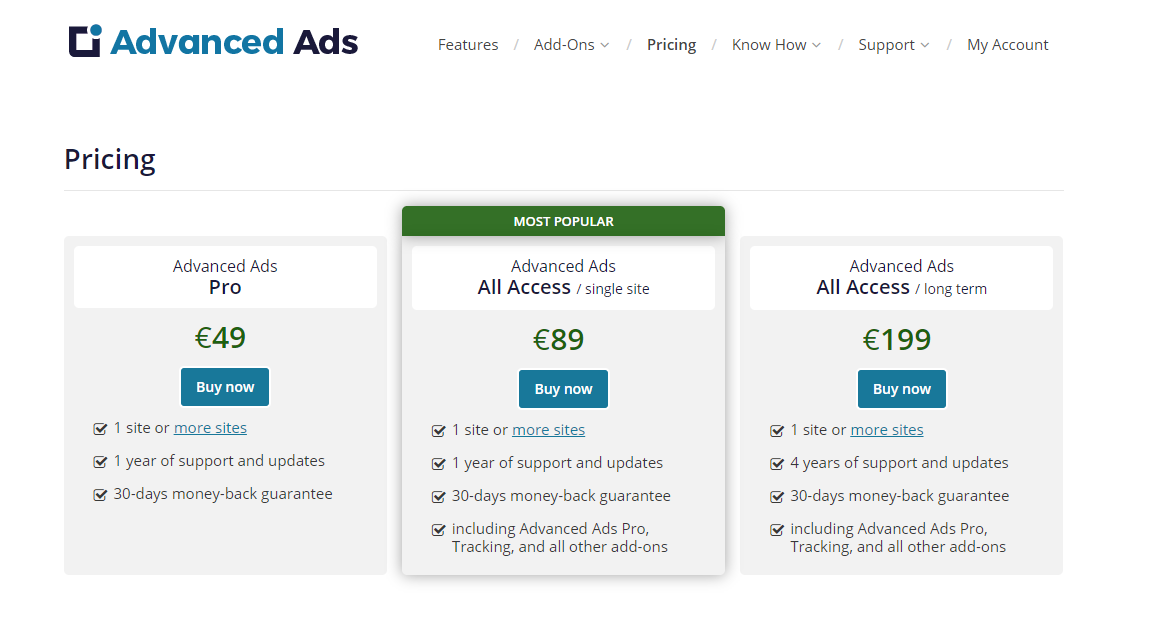 Advanced Ads pricing