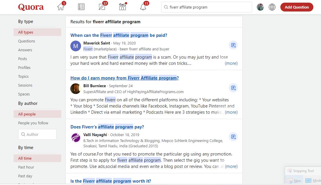 question about Fiverr affiliate platform on Quora
