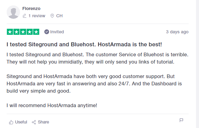 HostArmada positive testimonial 2