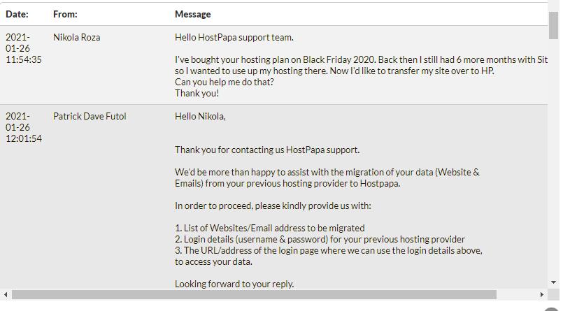 HostPapa helped me migrate my site