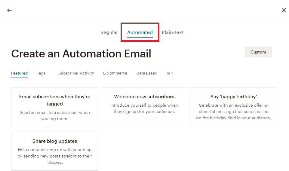 MailChimp automated email campaigns