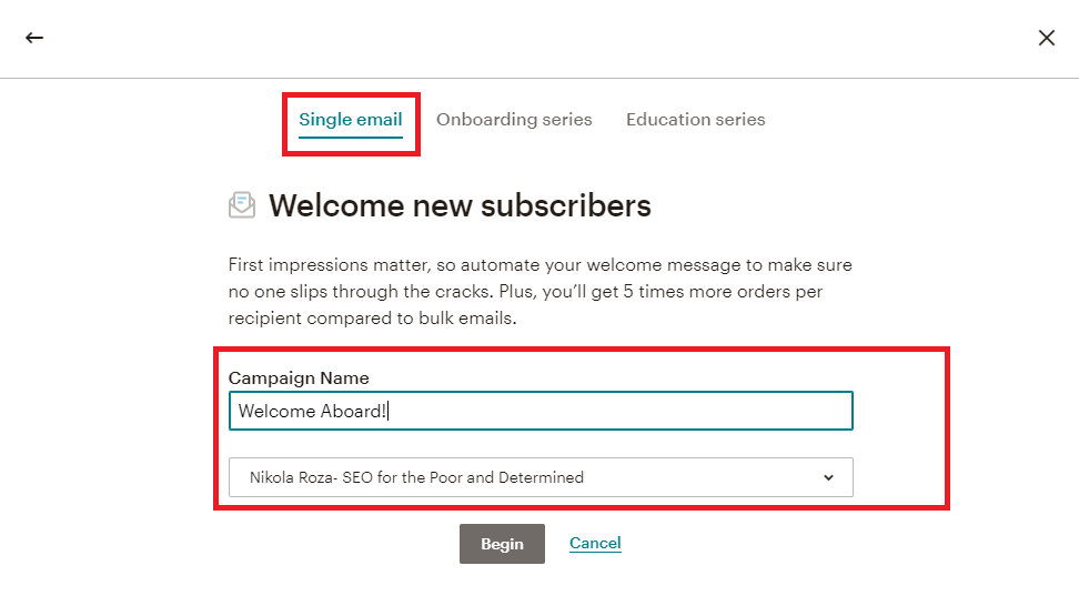 Welcome Aboard email campaign