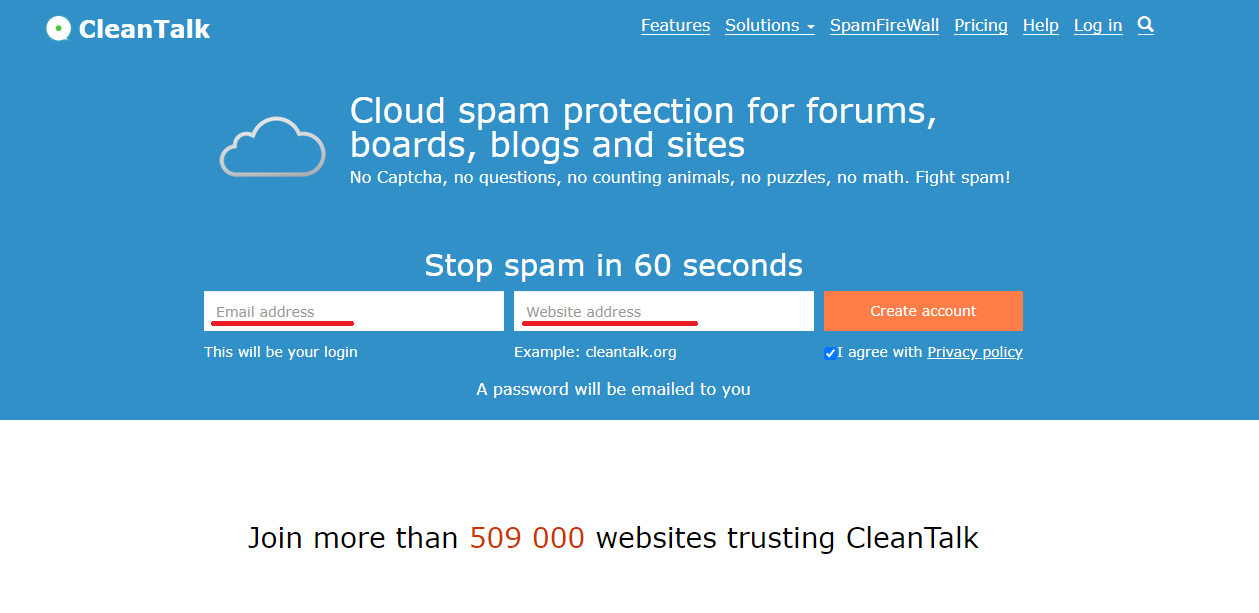Signup for Cleantalk