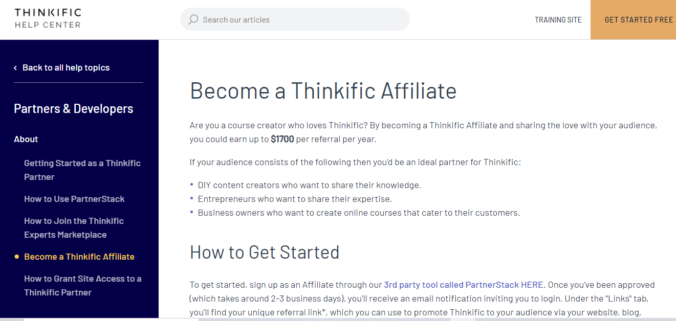 Thinkific affiliate program