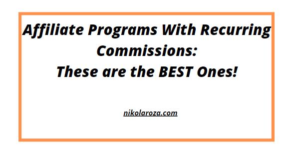 Recurring revenue affiliate programs