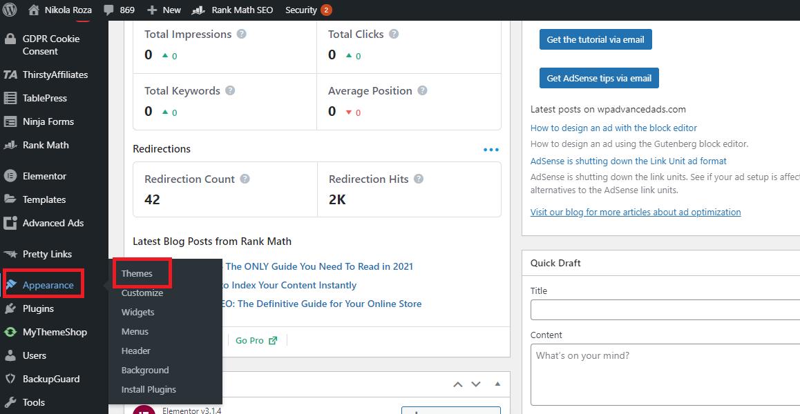 Appearance themes inside WordPress