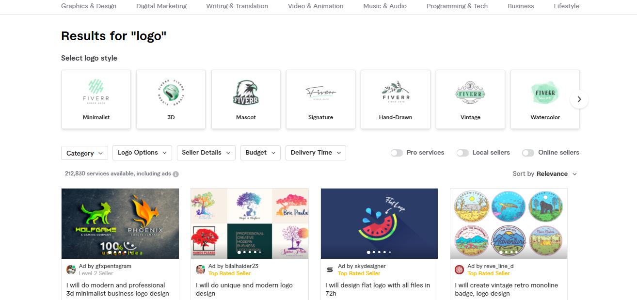 Fiverr logo creation services