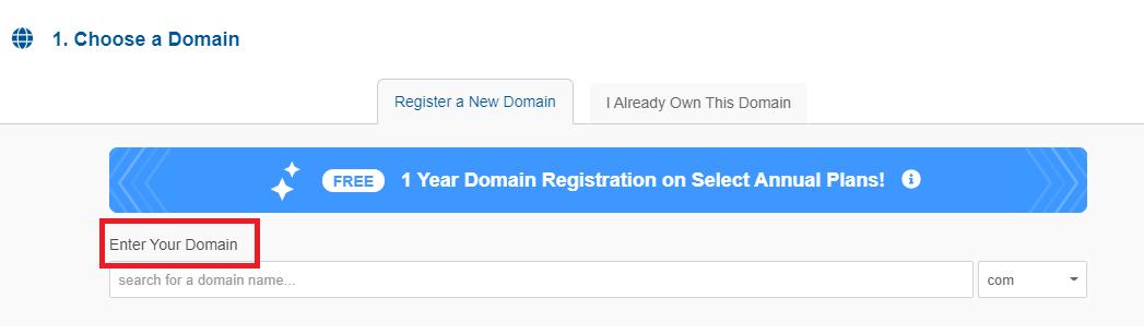HostGator register new domain name