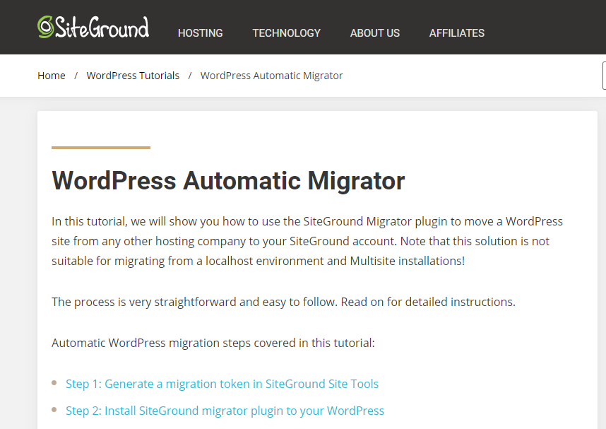 Site Ground website migrator