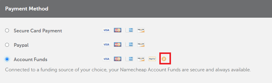 Pay with bitcoin for Namecheap services