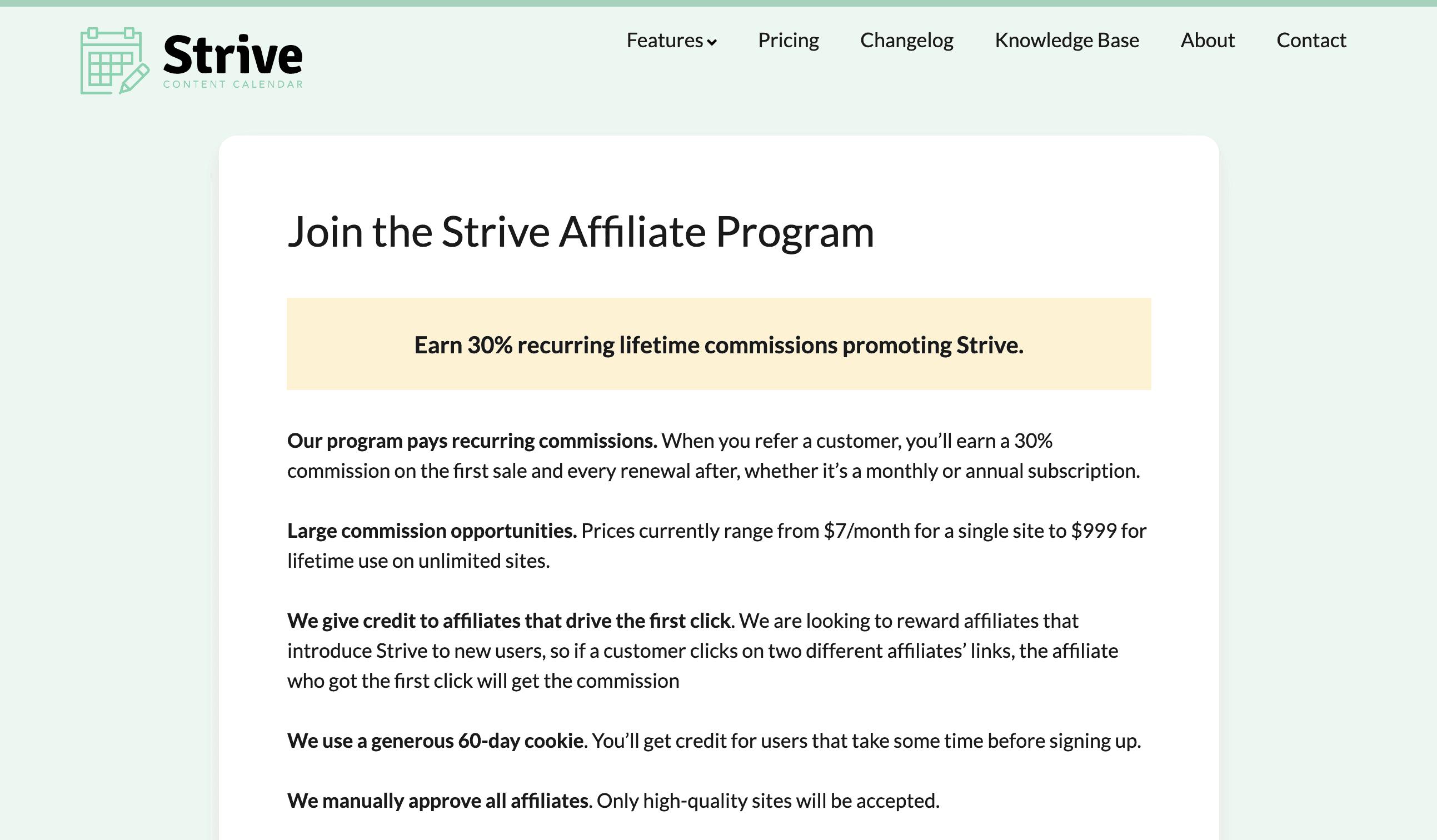 Strive affiliate program