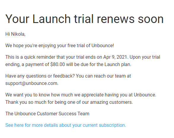 Unbounce free trial email reminder