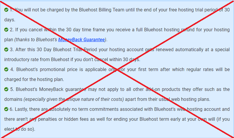 Bluehost free trial does not exist