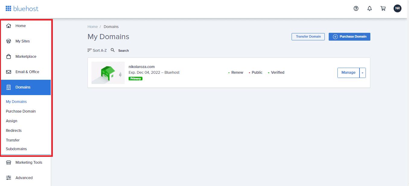 Bluehost user friendly dashboard