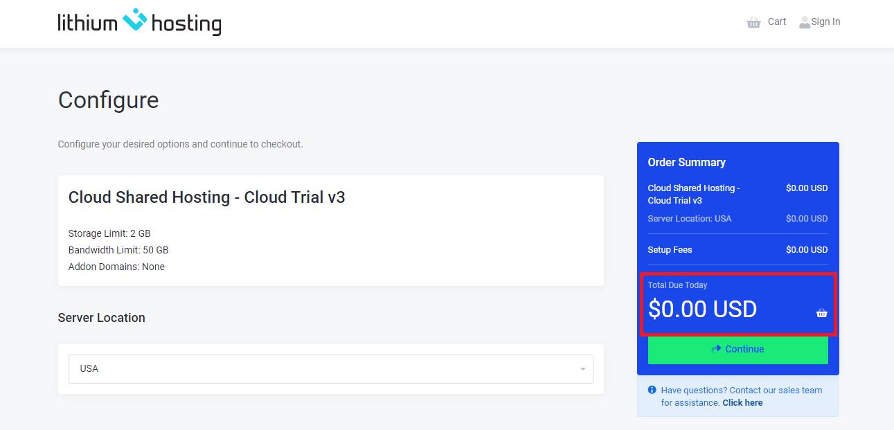 Lithium Hosting cloud shared hosting free trial