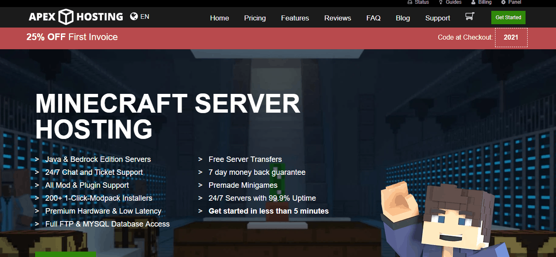 Apex Minecraft hosting pricing