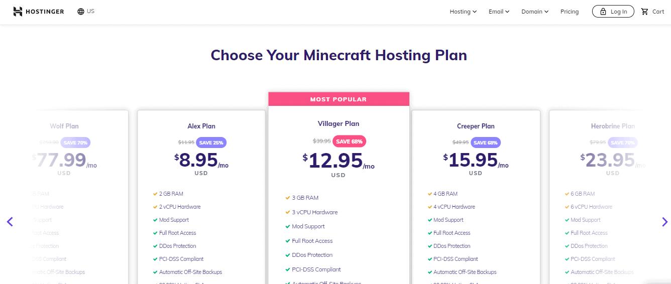 Hostinger Minecraft hosting pricing
