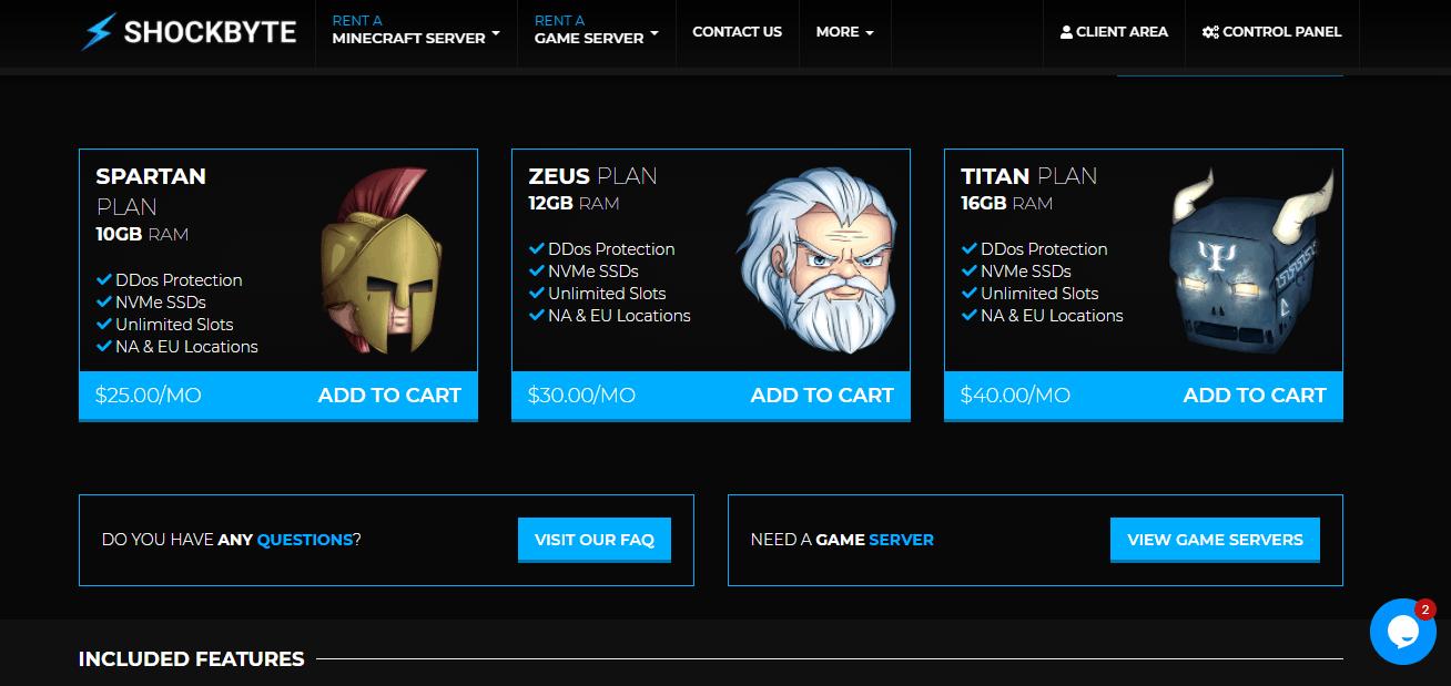 Shockbyte minecraft hosting pricing