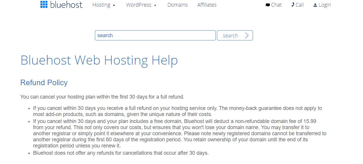 Bluehost refund guarantee